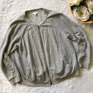 J.Jill Grey Knit Zip Up Jacket